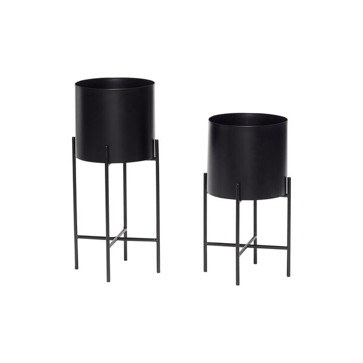 Pflanztopf mit Gestell 2er-Set, schwarz von Hübsch Interior