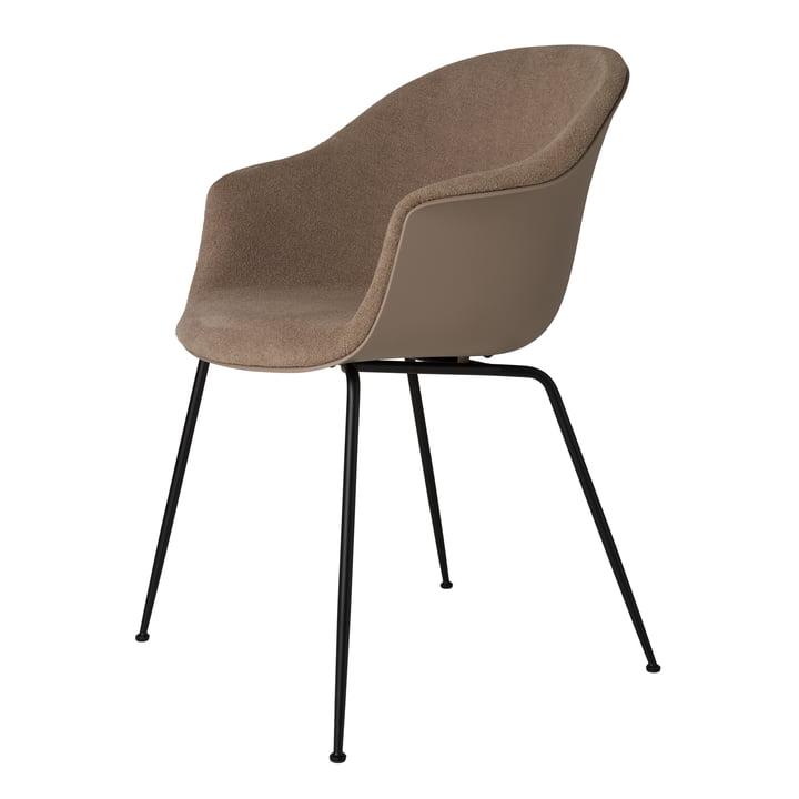 Bat Dining Stuhl gepolstert (Metall), schwarz matt / light bouclé (003) von Gubi