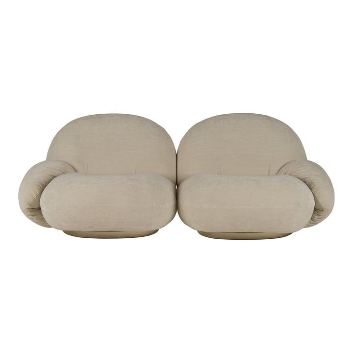 Pacha Sofa, 2-Sitzer, perlgold (Dedar Belsuede 007) von Gubi