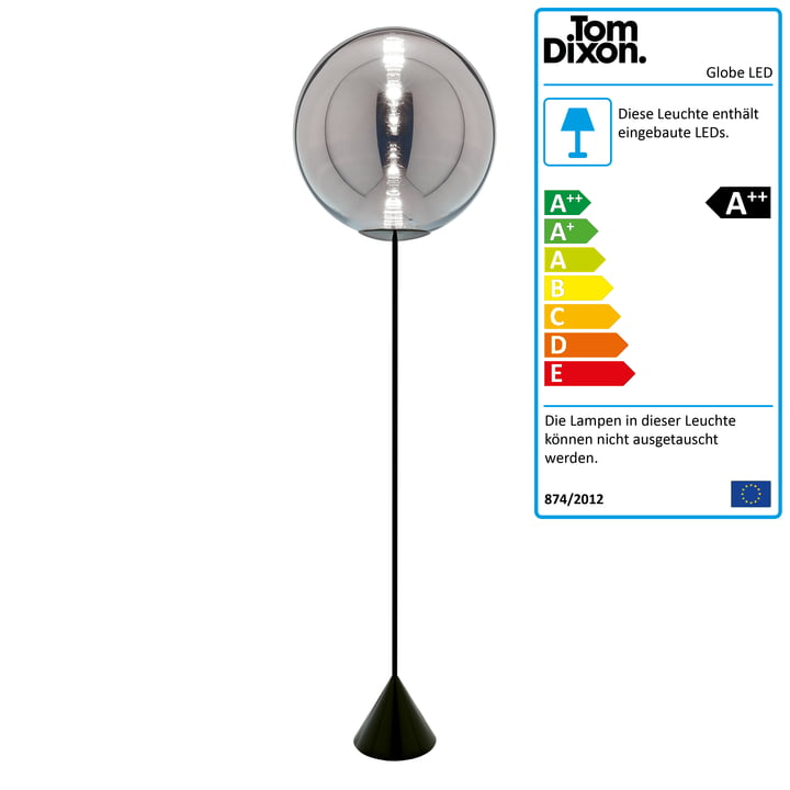 Globe LED Stehleuchte, schwarz / Chrom von Tom Dixon