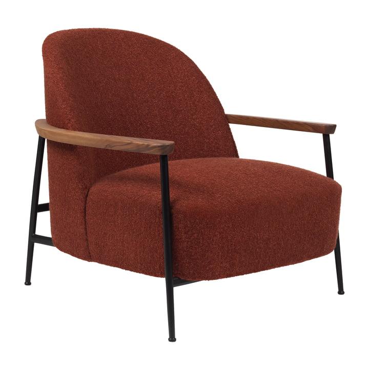 Sejour Lounge Chair mit Armlehnen, mattschwarz / eiche von Gubi