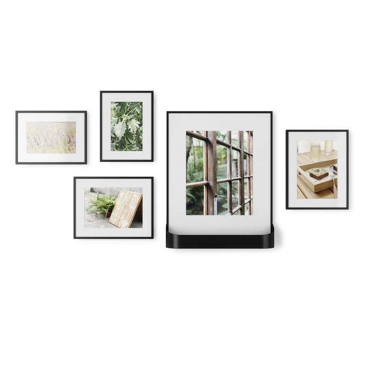 Das Matinee Bilderrahmen Set von Umbra, 5 Rahmen in 3 Größen, 1 mit Ablage, schwarz