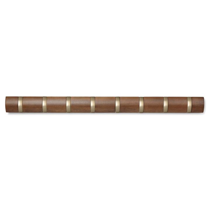 Die Flip Hook 8er Garderobenleiste von Umbra in Walnuss / warm gold