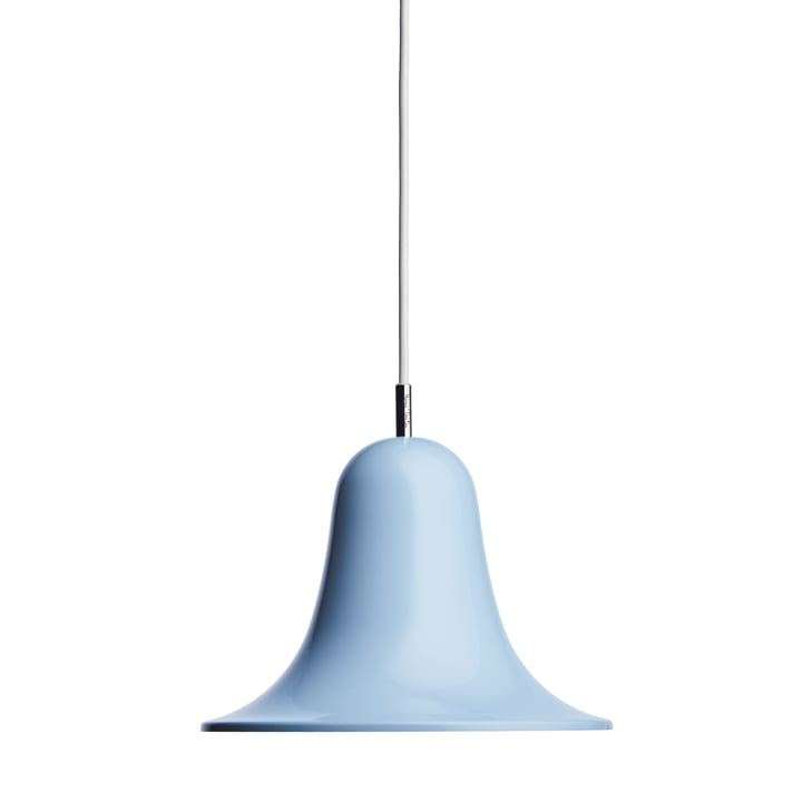 Die Pantop Pendelleuchte von Verpan in hellblau