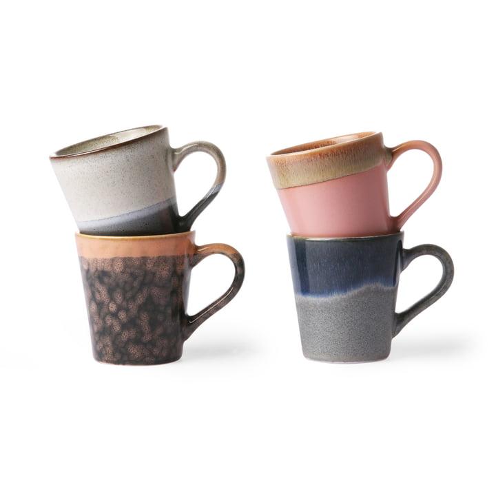 70's Espresso Tassen (4er-Set) 80 ml, mehrfarbig von HKliving