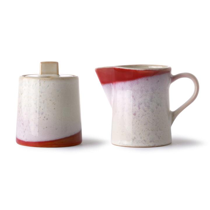 70's Milch und Zucker-Set, Keramik, weiß / rot von HKliving