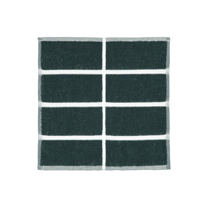 Das Tiiliskivi Mini-Handtuch von Marimekko in dunkelgrün / sand / messing