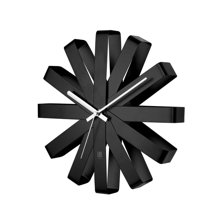 Ribbon Wanduhr, schwarz von Umbra
