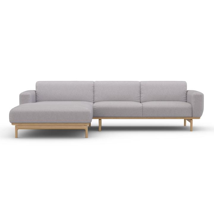 Das Ecksofa Air von Sit with us mit der Récamiere links, Basis aus massivem Eichenholz, Stoff Modesto, steingrau