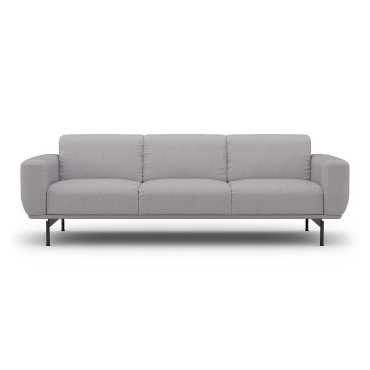 Das 3-Sitzer Sofa Air von Sit with us in steingrau Modesto, Kufe aus Schwarzchrom