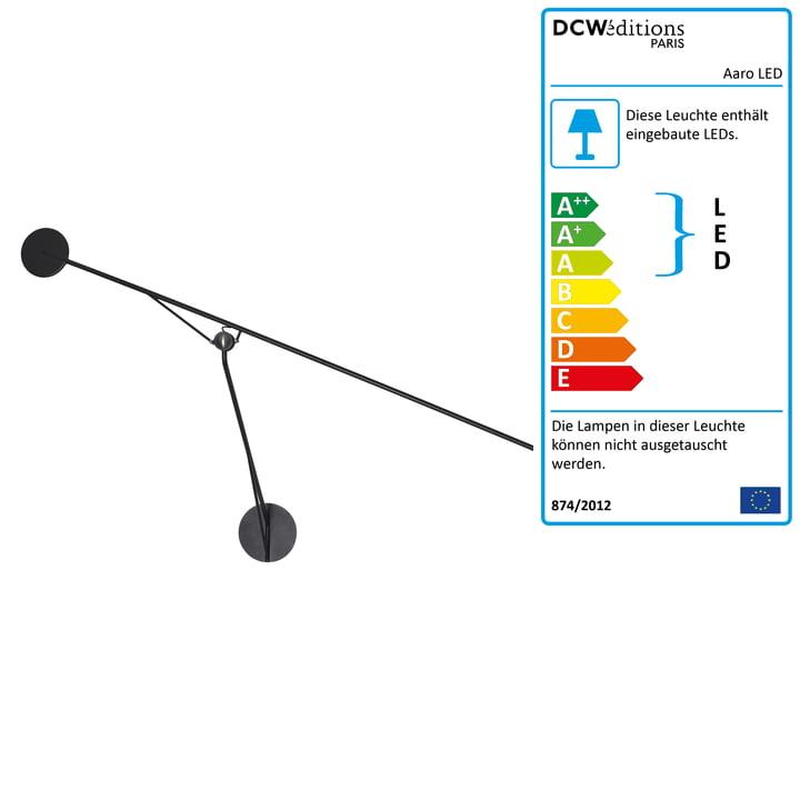 Die Aaro LED Wandleuchte von DCW in matt schwarz