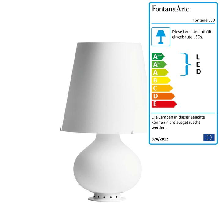 Die Fontana LED Tischleuchte von FontanaArte in weiß, Ø 20 cm, H 34 cm
