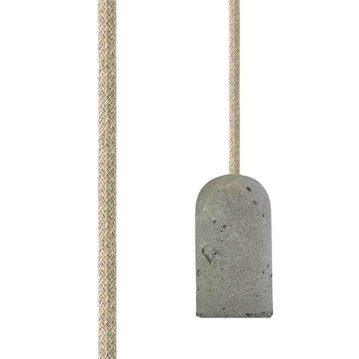 Base Concrete Fassung von NUD Collection mit Textilkabel in Natural Linen (TT-00)