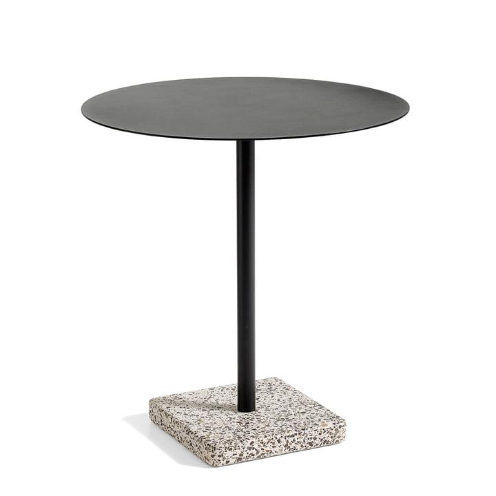 Terrazzo Tisch rund Ø 70 cm, grau/ anthrazit von Hay