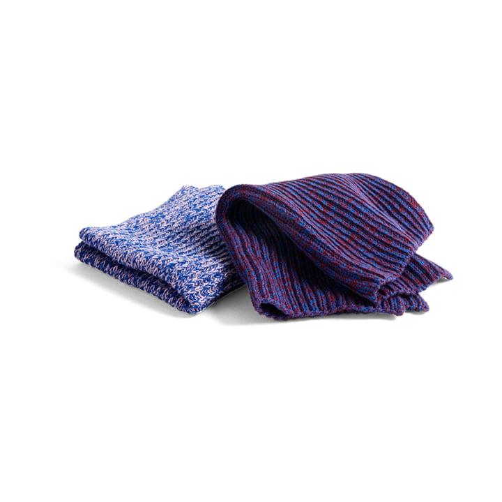 Spültücher Strickoptik (2er-Set), Melange blau / pink / rot von Hay