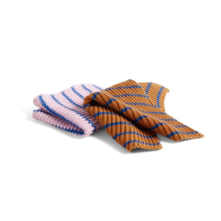 Spültücher Strickoptik (2er-Set), Stripe blau / braun / pink von Hay