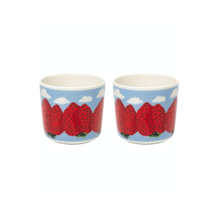 Der Mansikkavuoret Becher von Marimekko, (2er-Set), 200 ml, weiß / rot / blau