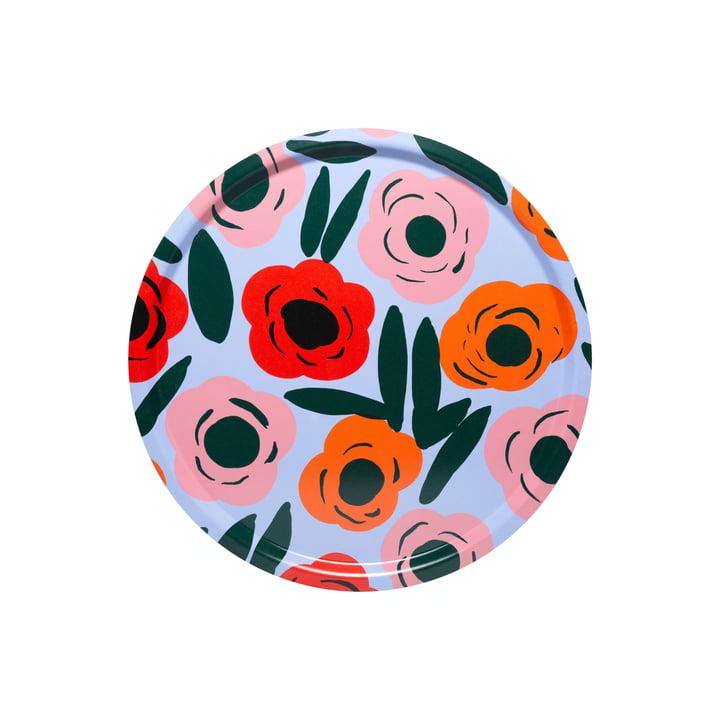 Das Ruukku Tablett rund von Marimekko, Ø 31 cm, hellblau / rot / dunkelgrün