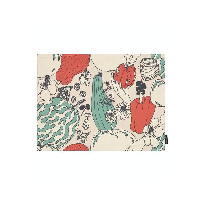 Das Vihannesmaa Tischset von Marimekko in baumwollweiß / rot / grün