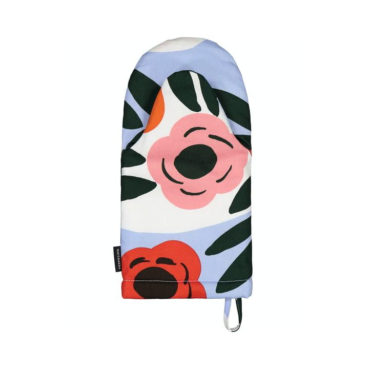 Der Ruukku Ofenhandschuh von Marimekko, hellblau / rot / dunkelgrün