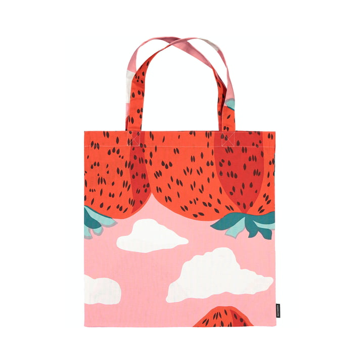 Die Mansikkavuoret Einkaufstasche von Marimekko, hellrot / rot