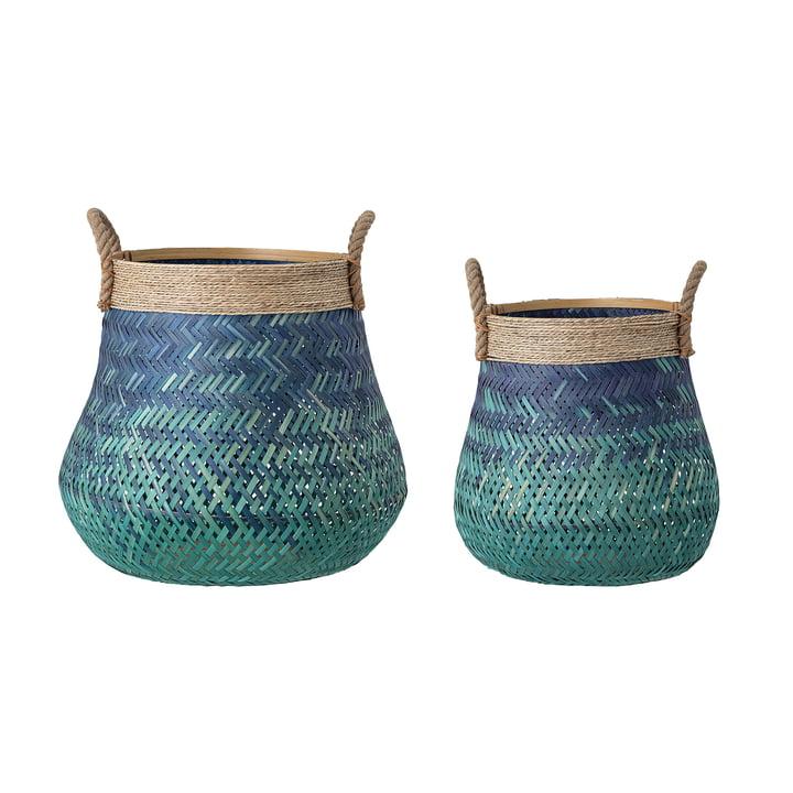 Der Bambus Korb von Bloomingville, blau (2er Set)