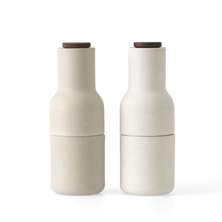 Bottle Salz- und Pfeffermühlen Set, Keramik glasiert / sand von Menu