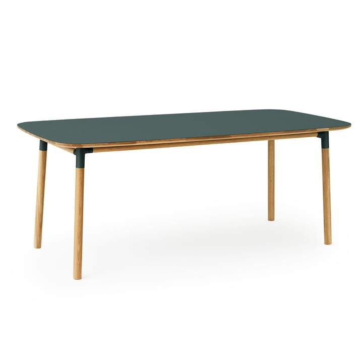 Der Form Esstisch von Normann Copenhagen, 95 x 200 cm, Eiche / grün