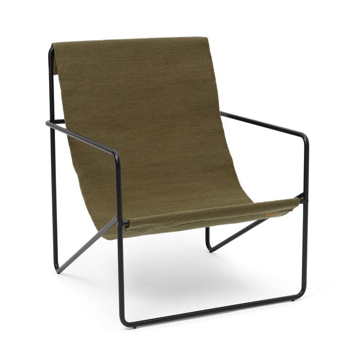 Der Desert Lounge Chair von ferm Living in schwarz / olive
