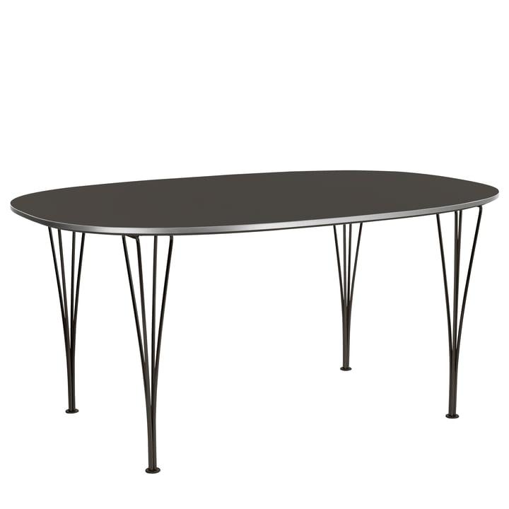 Fritz Hansen - Super-Elliptischer Tisch 72 x 180 x 120 cm, Laminat grau / Gestell schwarz