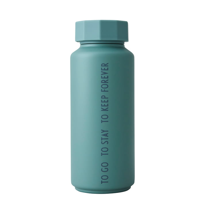 Die AJ Thermosflasche Hot & Cold von Design Letters, 0,5 l, To Go To Stay To Keep Forever / dusty green (Sonderedition)