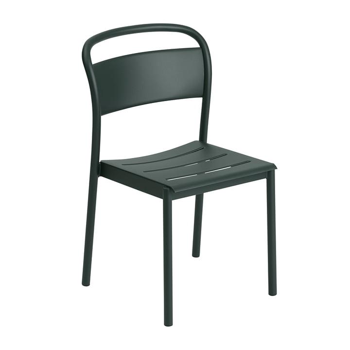 Der Linear Steel Side Chair von Muuto, dunkelgrün