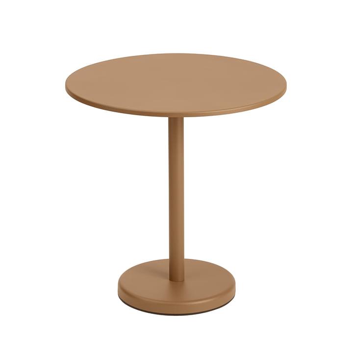 Der Linear Steel Tisch, rund von Muuto, Ø 70 cm, burnt orange