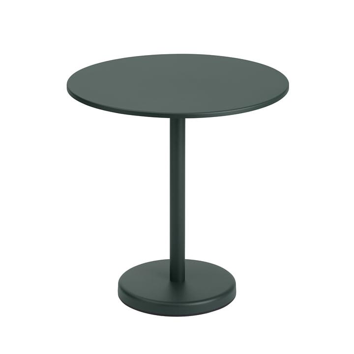 Der Linear Steel Tisch von Muuto, rund, Ø 70 cm, dunkelgrün