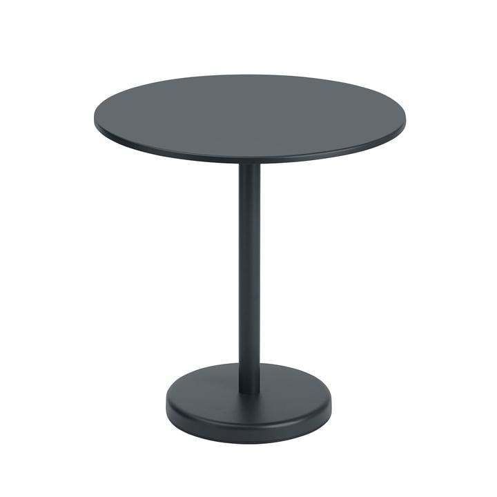 Der Linear Steel Tisch von Muuto, rund, Ø 70 cm, schwarz