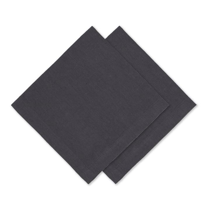 Connox Collection - Leinen Serviette, 45 x 45 cm, 2er-Set, dunkelgrau