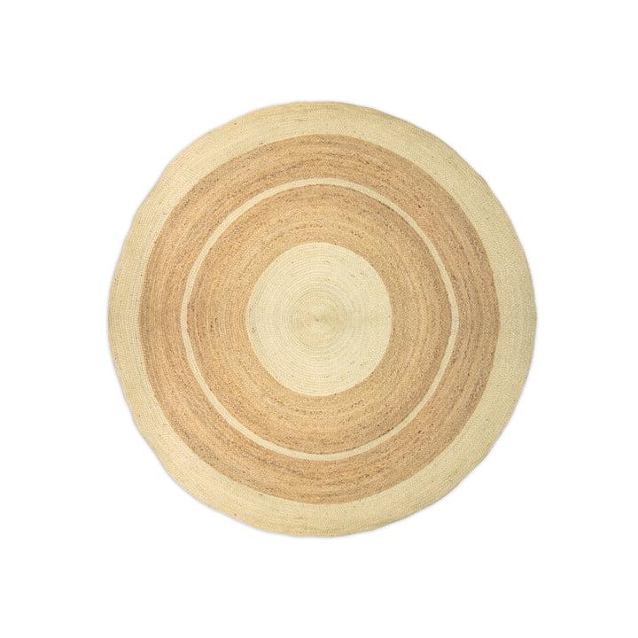 Der Jute Teppich mit Streifen aus der Connox Collection, Ø 130 cm, weiß / natur