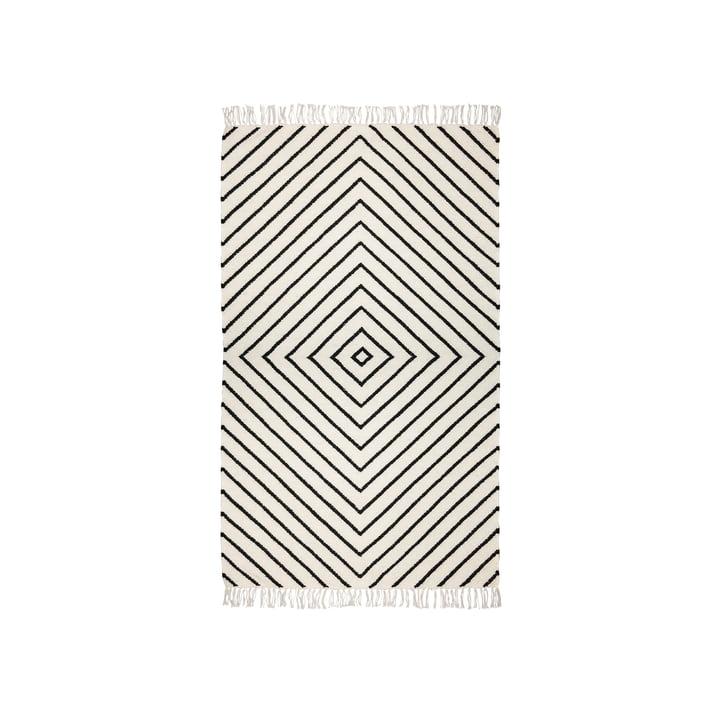 Der Kelim Teppich aus der Connox Collection, 90 x 160 cm, Rautenmuster, offwhite / black