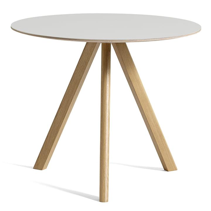 Copenhague CPH20 Tisch Ø 90 cm von Hay in Eiche lackiert / Linoleum off-white