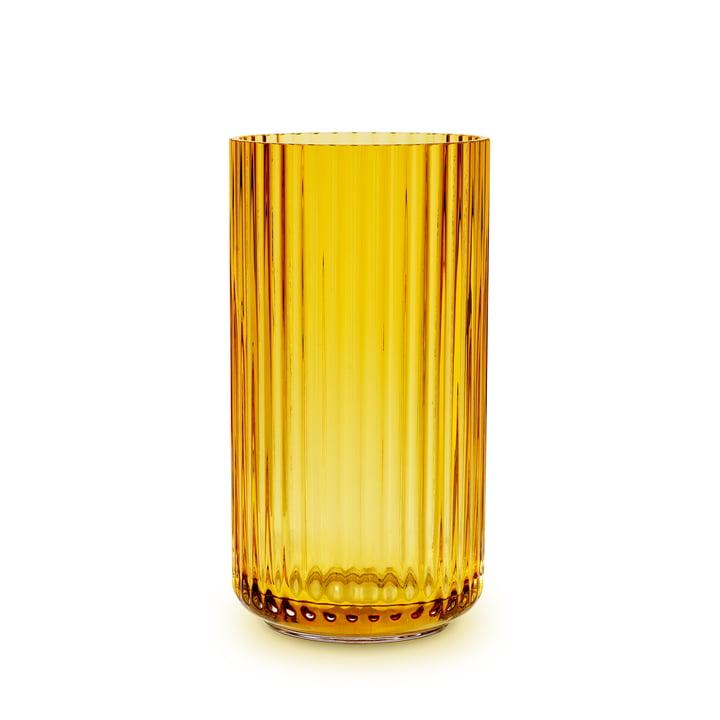 Die Glasvase von Lyngby Porcelæn, H 20,5 cm, amber