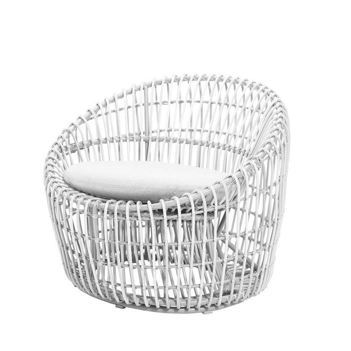 Der Nest Round Sessel Outdoor von Cane-line, weiß / weiß