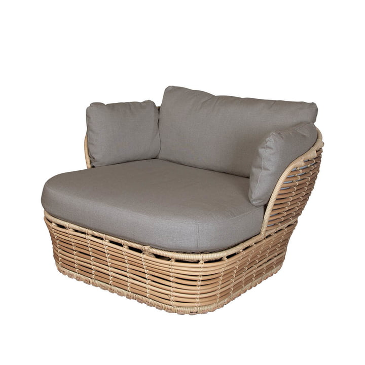 Der Basket Loungesessel Outdoor von Cane-line, natural / taupe