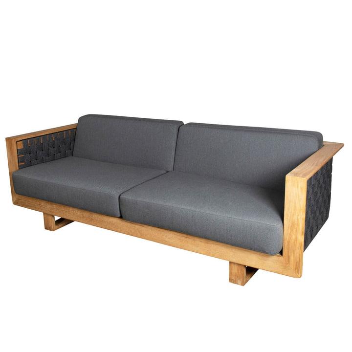 Das Angle 3-Sitzer Sofa Outdoor von Cane-line, dunkelgrau