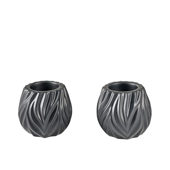 Flame Teelichthalter von Morsø in schwarz (2er Set)