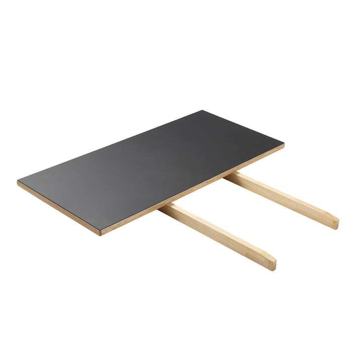 Die Tischverlängerung für C35C Esstisch von FDB Møbler, Eiche matt lackiert / Linoleum schwarz