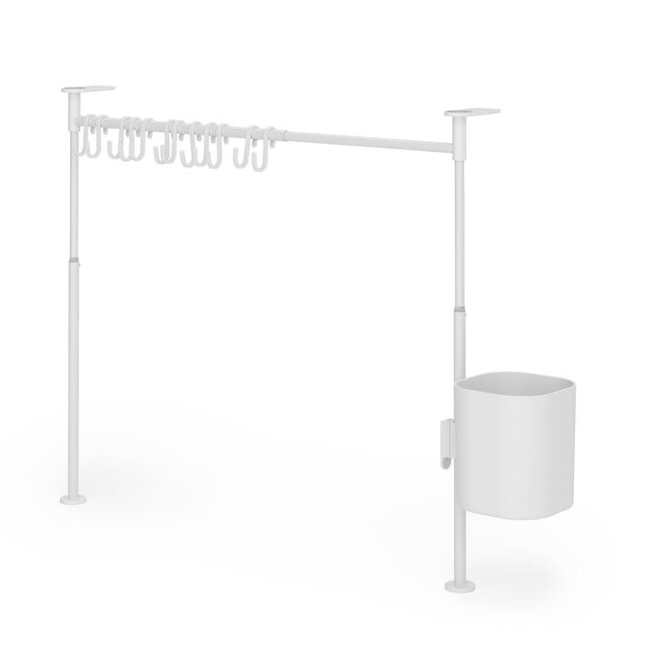 Anywhere Küchen-Organizer mit 12 Haken & 1 Behälter von Umbra in weiß