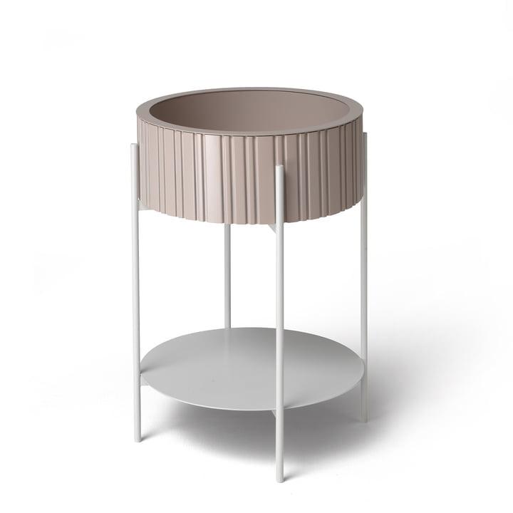 TWIST Box Beistelltisch mit Aufbewahrung von Müller Möbelfabrikation in puderrosa / signalweiß