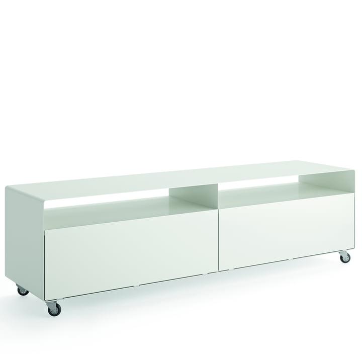 R 110 Sideboard mit 2 Klapptüren auf Rollen von Müller Möbelfabrikation in signalweiß