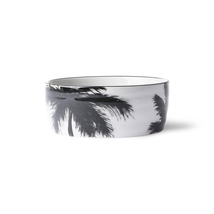 Die Bold & Basic Keramik Schale von HKliving, Ø 14,5 cm, weiß / Palmenmotiv