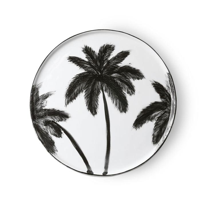 Der Bold & Basic Keramik Teller von HKliving, Ø 27 cm, weiß / Palmenmotiv